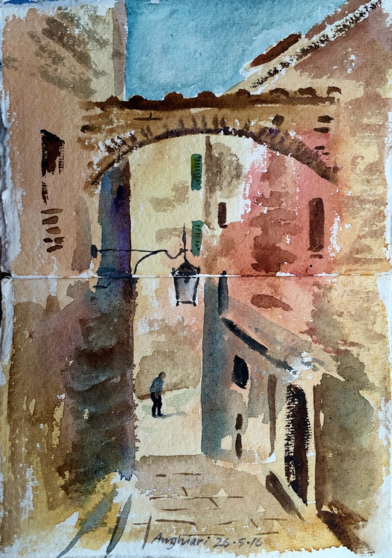 A watercolour sketch by Alan in the hilltop town of Anghiari.
