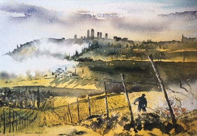 Burning the Vines, Tuscany by Alan Reed