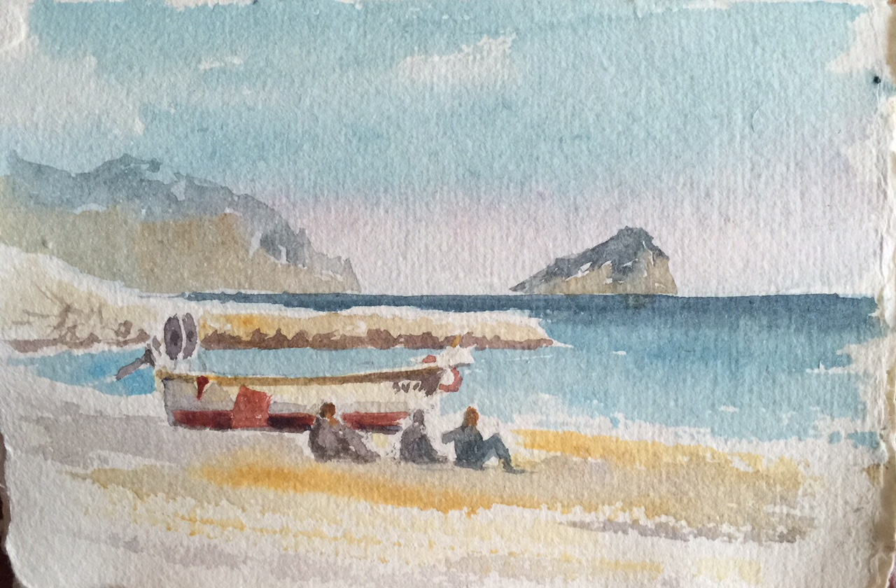 A sketch from Alan's sketchbook of the beach at Liguria