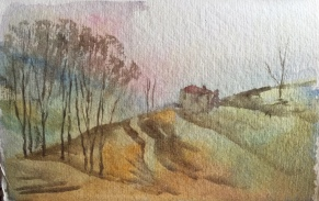 Sketchbook watercolour from the couple's trip to Alba, Piemonte