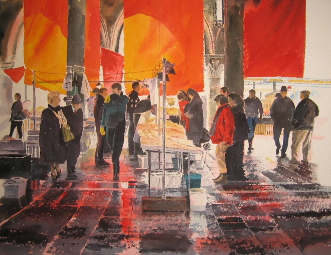 Rosso e Nero, inspired by the couple's trip to Venice February 2004 featuring the Rialto Fish Market and is available as a limited edition print.