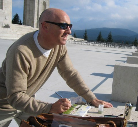 Alan Reed artist sketching in Veneto