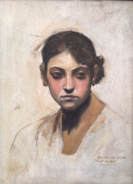 "Alan's study in oils of John Singer Sargent's ""Head of a Capri Girl"