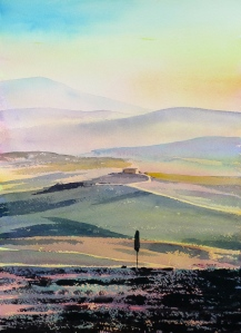 The evening sunlight near Pienza, a sketch by Alan Reed