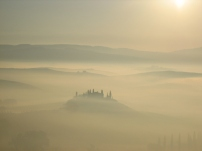 A photo of a misty Val D'Orcia taken by Alan Reed