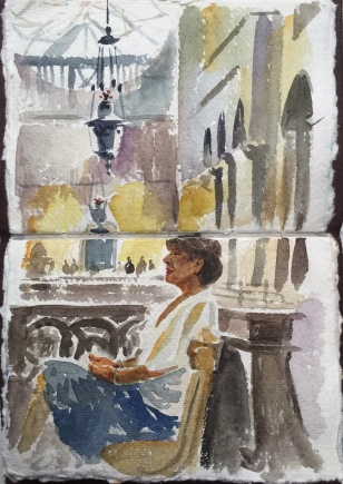 A sketchbook painting to gather reference of Susan sitting in St Marks