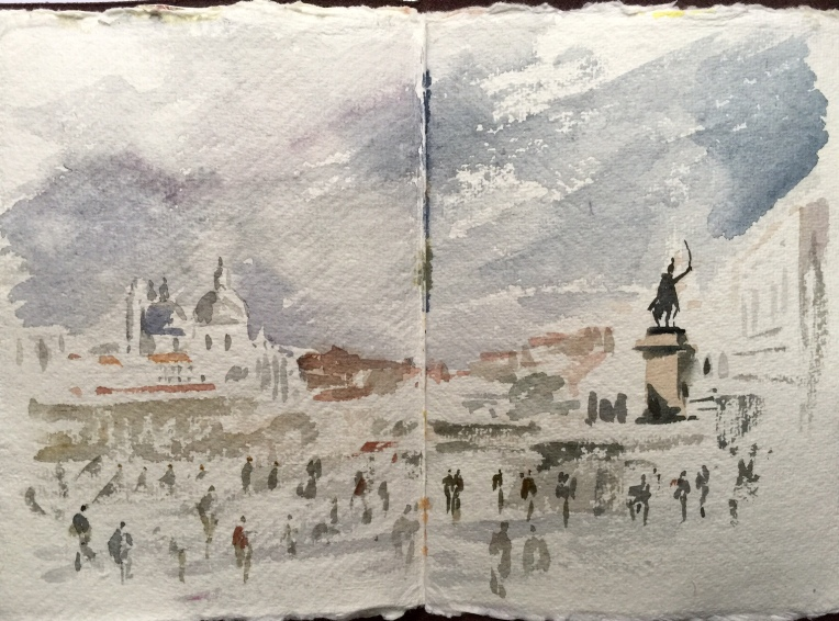 A sketchbook painting on-location in Venice by Alan