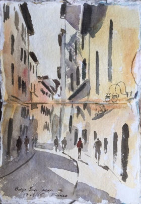 A sketchbook watercolour of Gubbio by Alan Reed