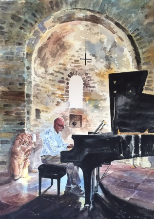 A painting of Leon playing the piano for guests at Chiesa Del Carmine