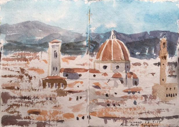 A sketchbook watercolour of Florence by Alan