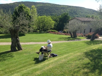Guest sketching at Villa Capanne